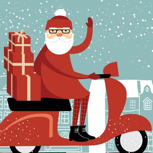 Nikolaus auf einer Vespa
